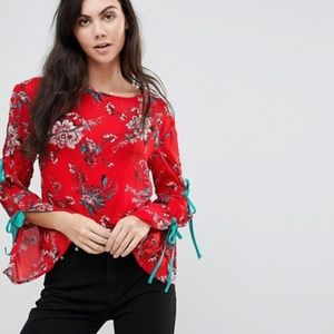 Glamorous ASOS Floral Blouse with Tie Sleeves